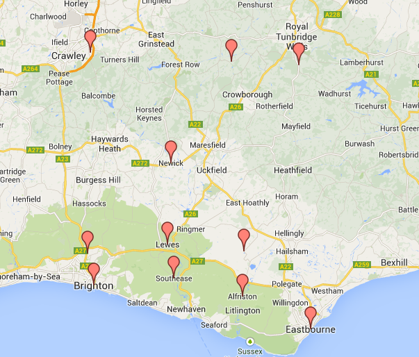 Top places for Webb families in East Sussex in 1785